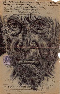 bic biro on 1901 envelope by mark powell bic biro drawings, via Flickr