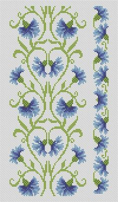 Flowers on vine cross-stitch-patterns-free - Knitting, Crochet, Dıy, Craft, Free Patterns Cross Stitch Pattern Maker, Cross Stitch Borders, Cross Stitch Flowers, Cross Stitch Designs, Cross Stitching, Cross Stitch Embroidery, Embroidery Patterns, Cross Stitch Patterns, Loom Patterns