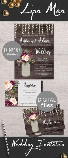 Floral wedding invitation printable boho chic by digartdesigns pink burgundy wedding invitation printable floral wedding invitations rustic wedding ideas wedding trends stopboris Gallery