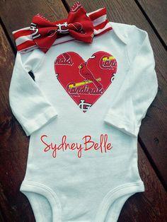 StL Cardinals baseball heart bodysuit with headband