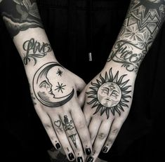 Sun and moon hand tattoos