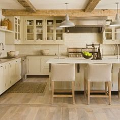 rustic kitchen with low ceilings