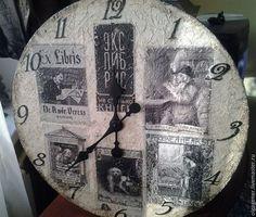 Часы для дома ручной работы. Ярмарка Мастеров - ручная работа Часы деревянные 40 см настенные_Экслибрисы. Handmade.