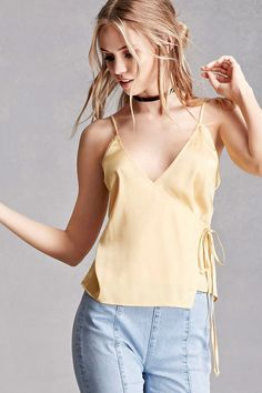 50 📌 satin cami top featuring a wrap surplice front with a self-tie at the waist, cami straps, a V-neckline, and a form-fitting silhouette. This is an independent brand and not a Forever 21 branded item. Look Fashion, Girl Fashion, Fashion Outfits, Fashion Trends, Scarlett Leithold, Satin Cami Top, Good Looking Women, Just Girl Things, Summer Shirts