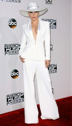 AMAs 2016 Best Dressed on the Red Carpet - Lady Gaga in a white Brandon Maxwell jumpsuit and jacket