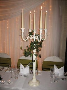 I Have 3 X Candelabras From The Hotel Florist Is Bringing Ivy Decoration For Around The Stem