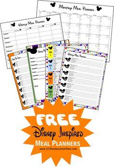 Repinned: Free Disney-Inspired Printable Menu Planners