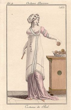 1800-1801 An 9 Costume Parisien Plate No 283 Costume de Bal - different bodice version - see also https://www.pinterest.com/pin/322500023305927479/ and  https://www.pinterest.com/pin/322500023305927485/