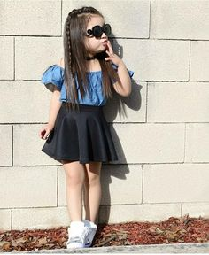 Fashionista💙 By: Tap pic for outfit details . Cute Little Girls Outfits, Girls Fall Outfits, Little Girl Fashion, Little Girl Dresses, Kids Fashion, Toddler Fashion, Kids Dress Wear, Kids Gown, Toddler Girl Style