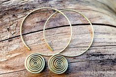 Tribal Brass Spiral Hoop Earrings. Handmade Eco by FullSpiral, $22.00
