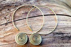 Tribal Brass Spiral Hoop Earrings. Handmade Jewelry by FullSpiral on Etsy