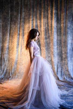 Violet gray wedding dress