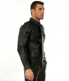 Sure to signal that you're a man of great authority, this fitted leather shirt is ideal for everyone from law enforcement officers to cosplay enthusiasts. #leatherclothing #leathershirts #buyleathershirt #tightleathershirt #longsleeveleathershirt