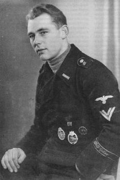 Portrait of SS-Rottenführer Hans Baumann, 5th Company/SS-Panzer-Regiment 1 LSSAH. Note that he's -contrary to regulations- wearing two different stages of the Tank Combat Badge.