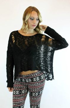 Shredded Sweater in Black | Debut - Vamped Boutique #sweaters #sweaterweather