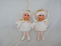 Pair of Pixie Elf Angels Vintage Japan Made Christmas Decorations, $4.99