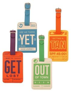 "Celebrate vintage type and your love of travel with these clever luggage tags sporting phrases like ""Are we there yet"" and ""I want to get lost."""
