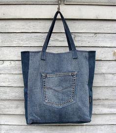 9b9e5692830 Items similar to Oversized denim tote bag Big denim shopper Jeans casual  style bag Summer blue denim handbag Everyday unisex bag Upcycled vegan eco  shopper ...