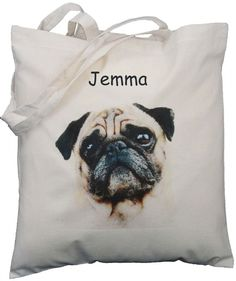 PERSONALISED - FAWN PUG - NATURAL COTTON SHOULDER BAG - Tote Shopper Personalised FAWN PUG DESIGN Natural Cotton Shoulder Bag Designed and printed by