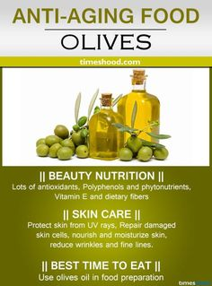 Olives for anti-aging. Best anti-aging diet for wrinkles free skin. Anti-aging essential oils for glowing skin. How to stop aging tips. Anti Aging Tips, Best Anti Aging, Anti Aging Cream, Anti Aging Skin Care, Food For Glowing Skin, Best Time To Eat, Valeur Nutritive, Anti Aging Supplements, Natural Supplements