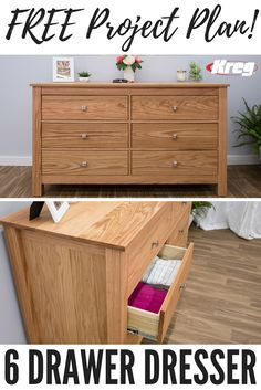 This dresser has a classic style that will dress up any bedroom. Plus, it provides a huge amount of storage space. The design and oak construction make it a perfect companion to our Classic Craftsman Style Bed plan. Or, if you prefer, you can use a different wood and finish to suit your decor. Click Pin for the FREE PROJECT PLAN! Diy Furniture Plans, Upcycled Furniture, Furniture Projects, Wood Furniture, Home Projects, Dresser Plans, Oak Dresser, 6 Drawer Dresser