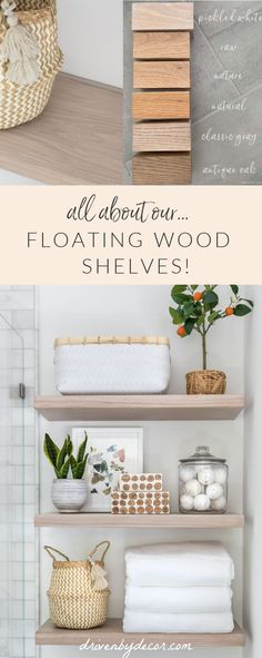I LOVE our floating wood shelves in our new bathroom and am sharing all of the details on how I chose them, where I bought them from, and how I installed them in my post! Decorating Rooms, Decorating Your Home, Decorating Ideas, Decor Ideas, Reclaimed Wood Floating Shelves, Wood Shelves, Styling Bookshelves, White Hand Towels, Bathrooms