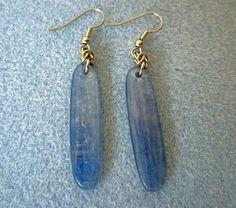 Blue kyanite natural stone earrings