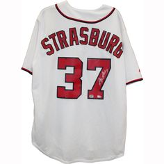 Stephen Strasburg Washington Nationals White Replica Signed Jersey (MM Auth) (MLB AUTH) - Stephen Strasburg Mounted Memories Authenticated Autographed Jersey-Washingtin Nationals ace Stephen Strasburg has personally hand-signed this White Replica Washington Nationals Jersey. Formally known as the most-hyped pick in draft history and the most hyped and closely watched pitching prospect in the history of baseball Strasburg made his MLB debut on June 8 2010 with a record making 14 strikeouts…