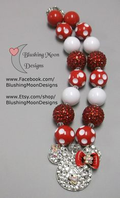 Red White Minnie Rhinestone Pendant Bubblegum Necklace               (Matching Bracelet & Headband available)