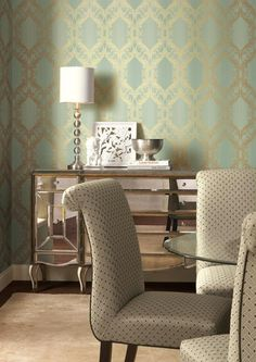 An open style damask - perfect for dining room or sophisticated office!