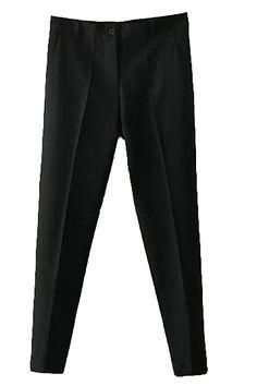Suit Style Plain Single Button Pencil Pants