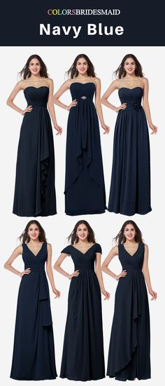 Chiffon long bridesmaid dresses in navy blue color looks so charming and noble. Strapless and V-neckline styles are popular. These cheap bridesmaid dresses are made into all sizes with great quality.