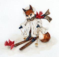 Woodland Fox Note Cards, Red Bird, Winter Snow Scene