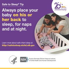 The #SafeToSleep campaign educates parents, caregivers, & health care providers about ways to reduce the risk of Sudden Infant Death Syndrome (SIDS) & other sleep-related causes of infant death. Get more information & free materials in English and Spanish at http://safetosleep.nichd.nih.gov/.