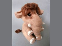 Needle Felted Baby Mammoth, Needle Felted Animals, Felted Wool Elephant, Art Doll, Collectible Figurine, Soft Sculpture