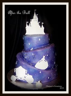Gumpaste Silhouettes Airbrushed Butterceam on Cake Central Disney Themed Cakes, Disney Cakes, Pretty Cakes, Beautiful Cakes, Silhouette Cake, Cinderella Silhouette, Airbrush Cake, My Birthday Cake, Novelty Cakes