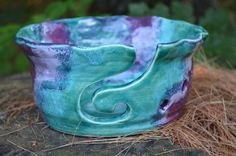 Yarn Bowl Hand Thrown Large Porcelain Stoneware Emerald Green and Purple With Fluted Edge Custom Order
