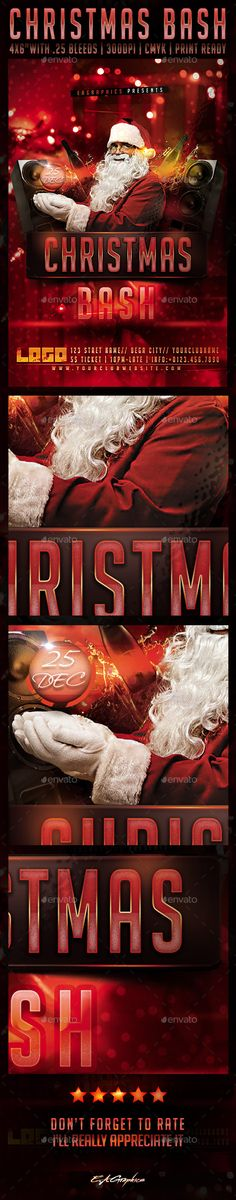 Christmas Bash Flyer TemplatePackage contains 1 .PSD file and documentation (.txt) Fully Layered Fully Editable Organized Layers in folders 46 inches (with bleed) 300 DPI CMYK, Print Ready Free fonts used: (links also attached in documentation file)Big No Christmas Flyer Template, Flyer Printing, Print Design, Graphic Design, Event Flyers, Flyer Layout, Print Templates, Tis The Season, Holidays And Events