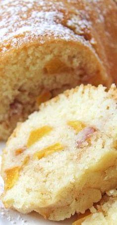 Peach Bundt Cake - A Pretty Life In The Suburbs - Cake Recipes 2019 Peach Cake Recipes, Peach Pound Cakes, Pound Cake Recipes, Dessert Recipes, Fresh Peach Pound Cake Recipe, Peach Coffee Cakes, Just Desserts, Delicious Desserts, Bundy Cake