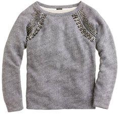 JCREW embellished sweatshirt. #casualglam.  Will wear it with dark skinny jeans