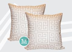 Two Cream Greek Key Pillow Covers 16 x 16 14 x 14 by motion52, $26.00