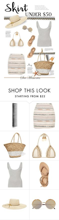 """Skirts Under $50"" by thewondersoffashion ❤ liked on Polyvore featuring GHD, New Look, La Ligne, SHE MADE ME, Frame Denim, Valia Gabriel, Eugenia Kim and Cutler and Gross"