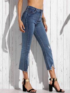 Jeans Strappati Con Logori - Blu-Italian SheIn(Sheinside)