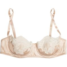 Dolce & Gabbana Lace-trimmed stretch silk-satin balconette bra ($545) ❤ liked on Polyvore featuring intimates, bras, neutral, satin shelf bra, shelf bra, balconette bra, balcony bra and underwire bra