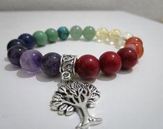 7 chakras, Pulsera siete chakras, Yoga, Pulseras,Pulsera para mujer, Regalo para mujer, Arbol de la vida, Joyeria budista, Chakra pulsera
