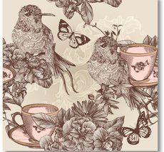 Vintage Fåglar Kaffekopp