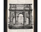 Italian architecture dictionary art print.On Upcycled Vintage Dictionary Page-8x10 inch. Buy any of our 3 prints get 1 free!