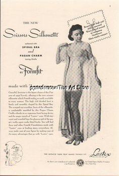 1939 Lastex Pagan Charm Girdle Spiral Bra Vintage Underwear Fashion Photo Ad