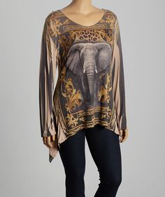 Look what I found on #zulily! Yellow & Gray Elephant Sidetail Top - Plus by Poliana Plus #zulilyfinds