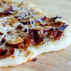 Plum Pizza with Caramelized Onion and Crispy Bacon By Amber